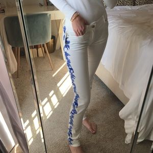 Rebecca Minkoff White Jeans with Blue Embroidery